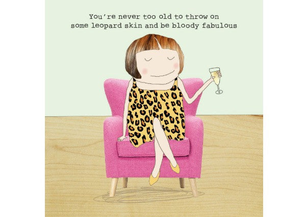 leopard skin fabulous birthday card - quirky coo, cards, gifts, dundee, scottish