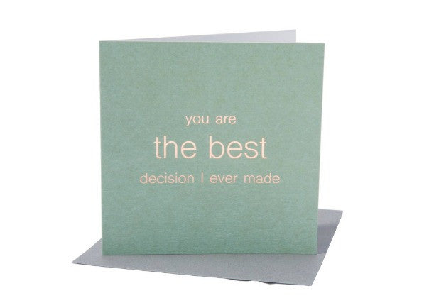 Best Decision anniversary wedding card - quirky coo, cards, gifts, dundee, scottish