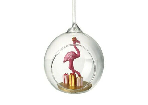 Open Glass Flamingo Christmas Bauble