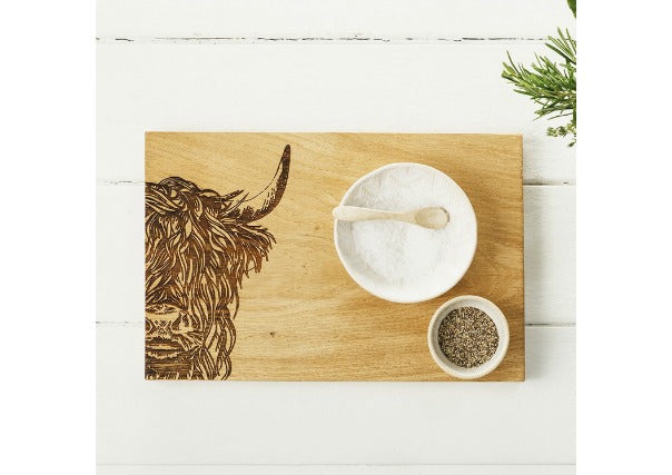 highland cow scottish oak serving board - quirky coo, gifts perth dundee aberdeen
