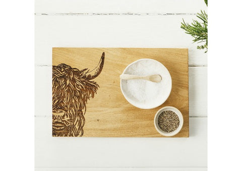 Just Slate Scottish Oak Highland Cow Serving Tray