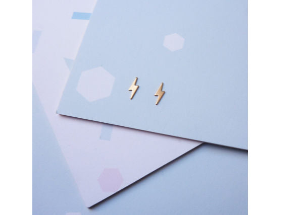 Custom Made jewellery, lightning bolt stud earrings - quirky coo, jewellery, scottish gifts for women, dundee