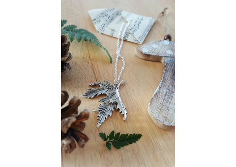 Silver Plated Maple Leaf Pendant