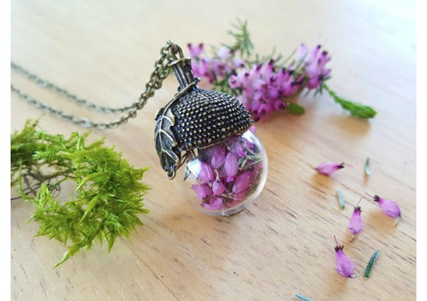 purple heather acorn pendant - quirky gifts perth dundee aberdeen