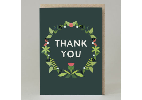 Scottish thank you card thistle - quirky cards gifts dundee perth scotland