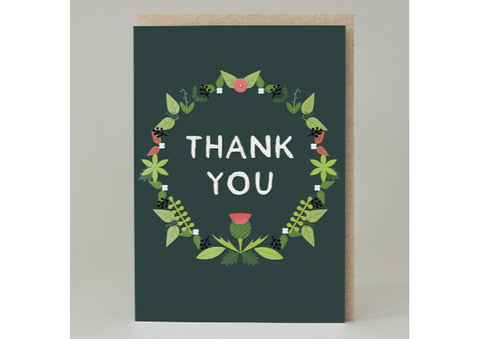 Thank you Wreath with thistles - Scottish Card