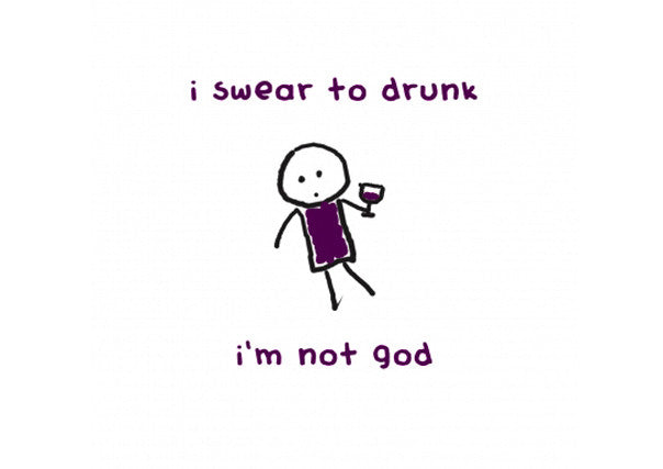 "Quirky Coo - ""Swear to Drunk I'm Not God"" card"