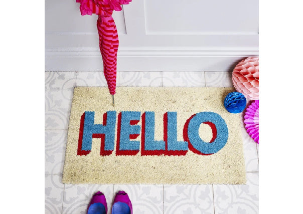 Hello Doormat Turquoise/Red