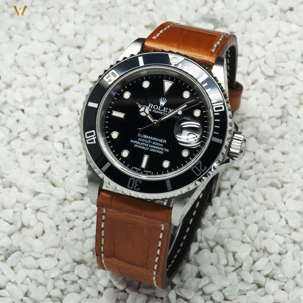 Bracelet de montre Dark Croco beige 20 mm et rolex submariner