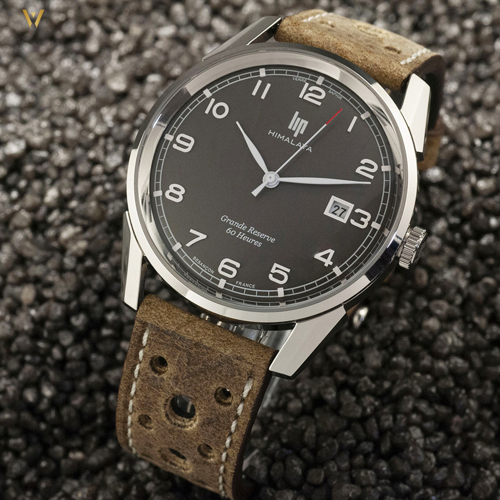 Montre LIP Himalaya Grande Réserve cadran gris avec bracelet racing antilope gris The Watch Observer