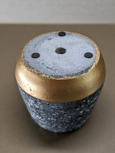 "Golden Spliced Cement Pot with Gray Marbling - 4"" Plant Pot, Flower Planter"