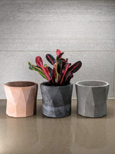 "Load image into Gallery viewer, Modern Geometric Design Cement 5"" Planter Concrete Pot - Multiple Colors - Drainage Hole"