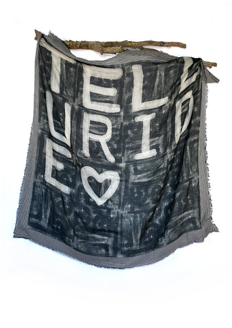 Custom bespoke designed and branded wool scarf for Heritage in Telluride Colorado, Telluride Ski Area private label luxury designed product by At Home With Ray