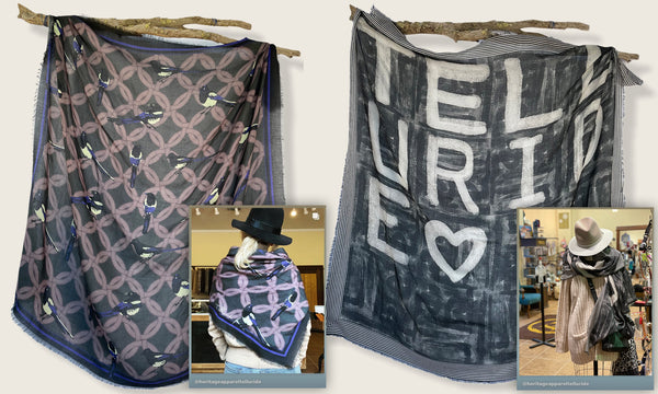 Custom luxury silk wool scarves for Heritage Apparel in Telluride Colorado. Design and produced by At Home With Ray.