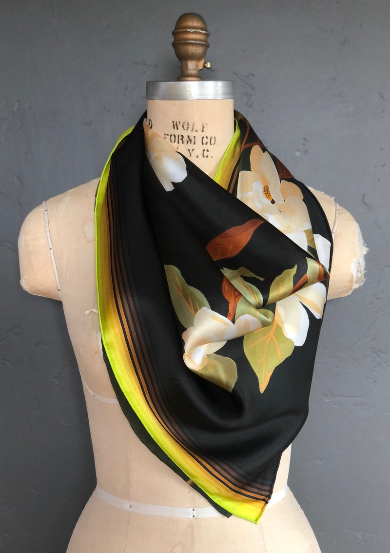 silk scarf, bandana on neck, Hermes like scarf, hand rolled edges, bandana in hair, silk twill scarf, holiday gift for women, girlfriend present, designer silk scarf, premium silk scarf, how to wear a scarf, how to tie a hair scarf, printed scarf