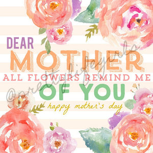 Dear Mother Printable Gift Tag