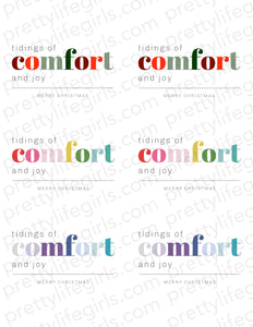 Comfort and Joy Printable Gift Tag
