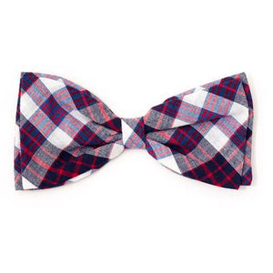 Madras Plaid Navy/Red/White Bow Tie
