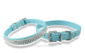 Rhinestone Bling Leather Collar- Blue