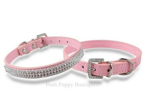 Rhinestone Bling Leather Collar- Pink
