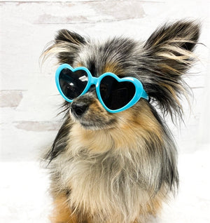 Tiny Dog Heart Sunglasses in Turquoise