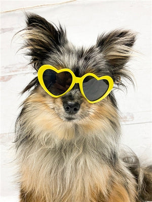 Tiny Dog Heart Sunglasses in Yellow