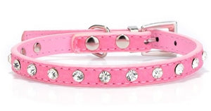 Rhinestone Leather Collar- Pink