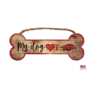 Arkansas Razorbacks Distressed Dog Bone Wooden Sign