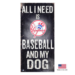 New York Yankees Distressed Baseball And My Dog Sign