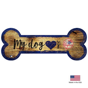 New York Yankees Distressed Dog Bone Wooden Sign