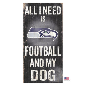 Seattle Seahawks Distressed Football And My Dog Sign