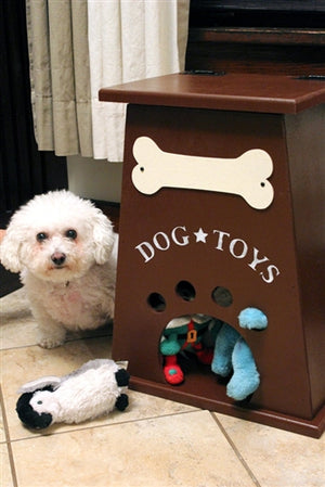 Personalized Dog Toy Box- Burgundy-Brown