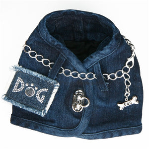 Hollywood Basic Denim Harness Vest- Many Patch Choices