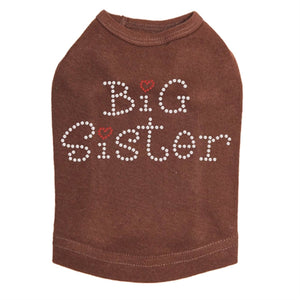 Big Sister with Red Heart Rhinestone Dog Tank- Many Colors
