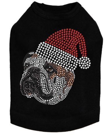 Brown Bulldog Face with Santa Hat Dog Tank - Many Colors