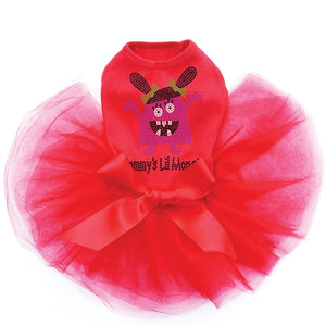 Mommy's Lil Monster Pink Rhinestone Tutu Dress- Three Colors