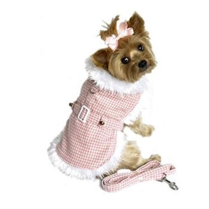 Pink Houndstooth and White Fur Collar Harness Coat With Leash