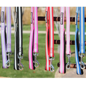 Reflective Nylon Leash with Soft Grip Handle - 3/4 in. Wide x 5 ft. Long - Many Colors