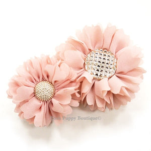 Flower 1 Collar Slider Flower Bow- Pink