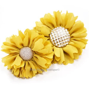 Flower 1 Collar Slider Flower Bow- Yellow