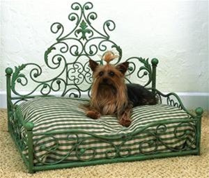 Distressed Blue Antique Scroll Pet Bed