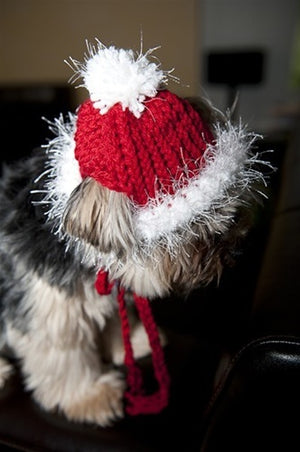 Red & White Knit Hat for Dogs