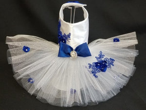 White and Navy Wedding Harness Dress