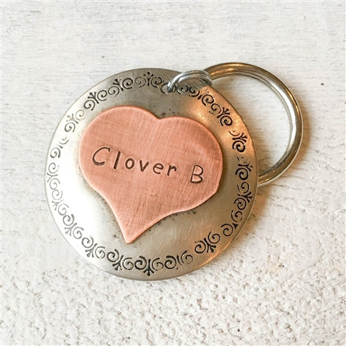 Clover Heart Copper & Silver Pet ID Tag-Customize