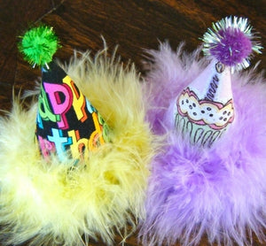Happy Birthday Tiny Party Hats For 3-6 lb Dogs