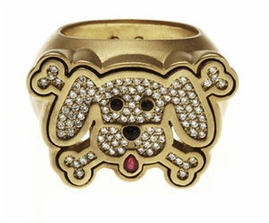 Dog & X Bone Ring Diamond 18k - White or Yellow Gold
