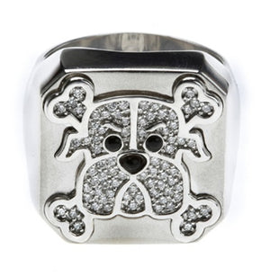 Mean Dog & X Bone Square Ring Diamond 18k - White or Yellow Gold