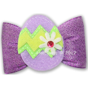 Colored Eggs Hair Bow - Purple