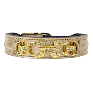 After Eight Collection Dog Collar - Gold Metallic