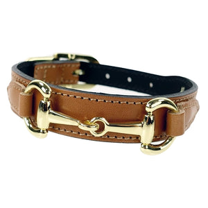 BELMONT Style Dog Collar in Buckskin & Gold